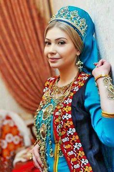 Turkmen beauty in traditional dress, Turkmenistan.