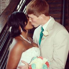 Beautiful interracial couple sealing their hearts with a kiss #love #wmbw #bwwm