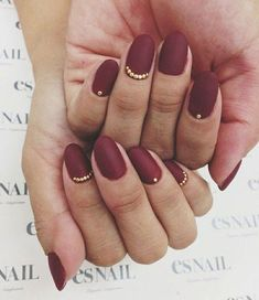 Dark Red Matte Nails + Gold Details