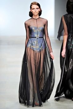 Sheer maxi dress over embellished bodysuit