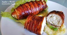 Egy egyszerű finom csirkemell zöldfűszeres krémsajttal és aztán baconba csomagolva, az valami isteni. A puha csirkemell, a zöldfűszeres kr... Bacon, Pork, Meat, Kale Stir Fry, Pork Chops, Pork Belly