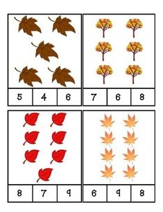 Fall Leaves Count and Clip Cards by PreK Printables Shop Preschool Math, Kindergarten Math, Autumn Activities, Preschool Activities, Math For Kids, Worksheets For Kids, Fall Leaves, Autumn Theme, Counting