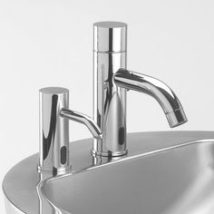 Lacava Bathroom Products | ZOOM |  Electronic Faucet & Soap Dispenser -- Electronic lavatory faucet (item # EX10) for cold or premixed water. Power via battery or 9V transformer. Recommended mixing valves sold reparately: EX20 or EX25.  Electronic deck-mounted touch-free soap dispenser (item # EX05). Power via battery or 9V transformer. Peristaltic pump allows the use of any brand of soap, sanitizer or lotion.