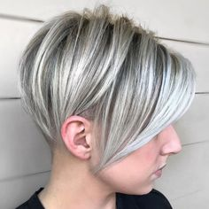 Blonde Pixie Undercut With Silver Highlights