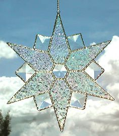 "Beveled Snowflake Stained Glass Suncatcher - 8"" - $28.95 - - Stained Glass Designs -  Stained Glass Sun Catchers – Stained Glass Art – Stained Glass Suncatchers – Handcrafted Stained Glass Gifts -  From Accent on Glass  - www.accentonglass.com"