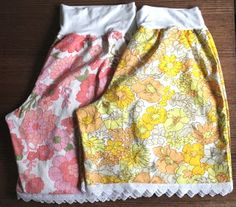 Pajama shorts or pants from old cotton sheets. Vintage Sheets, Vintage Fabrics, Vintage Sewing Patterns, Vintage Linen, Vintage Updo, Vintage Floral, Sewing Ideas, Sewing Basics, Sewing For Beginners