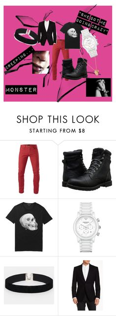 """""""EXO Monster inspired look (Boy)"""" by churrosforthewin ❤ liked on Polyvore featuring 3x1, Timberland, Alexander McQueen, Brooks, Emporio Armani, ASOS, Versace, men's fashion, menswear and music"""
