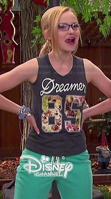 Maddie's Dreamer 85 muscle tank on Liv and Maddie.  Outfit Details: http://wornontv.net/44695/ #LivandMaddie