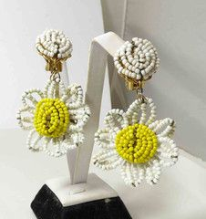 Miriam Haskell signed White Glass Seed Beads –Dangle Daisy Earrings - Vintage Lane Jewelry - 1