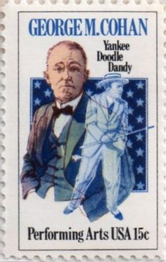 US postage stamp, 15 cents.  George M. Cohan.  Yankee Doodle Dandy.  Performing Arts USA.  Issued 1978.  Scott catalog 1756.