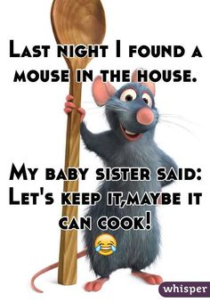 Last night I found a mouse in the house.    My baby sister said: Let's keep it,maybe it can cook!