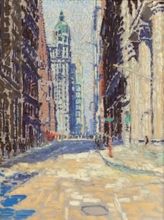 """The Singer Building from Fulton Street,"" Edwin Hawley Hewitt, oil on canvas, 24-1/4 x 18-1/4"", private collection."