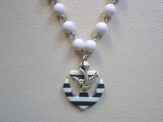 Navy & White Striped Anchor