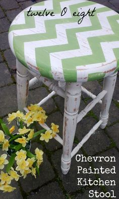 painted furniture, painted furniture, Chevron Painted Kitchen Stools via Furniture Projects, Furniture Makeover, Diy Furniture, Diy Projects, Furniture Chairs, Dining Chairs, Chevron Furniture, Kitchen Furniture, Antique Furniture