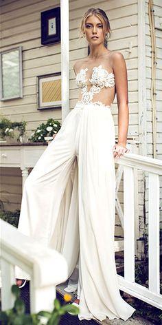 wedding pantsuit via riki dalal / http://www.deerpearlflowers.com/wedding-pantsuits-and-jumpsuits-for-brides/