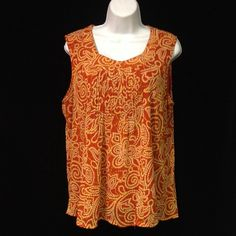 Rafaella 1X/XL Terra-cotta Print Blouse Price Firm, unless bundled. Welcome to YOUR Plus Size Exchange- where big is the new black! We carry everything from L/12-5X/32-36W including your favorite shoes and accessories. Bundle 3 or more items & save 20%. If you see & want an item, but disappears  that means it sold at our boutique. So, HURRY-- hot items sell fast. Find us on FB. Sorry, ❌NO Trades or ❌PayPal! Happy Poshing! We ❤️ YOU! - Team BBW Rafaella Tops Blouses