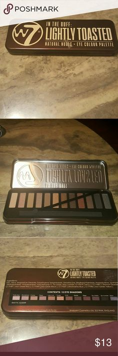 W7- In The Buff: Lightly Toasted Natural Nudes- W7?s In The Buff LIGHTLY TOASTED palette has a nice mix of warm and cool, elegant, neutral shades; and finishes from matte to sparkly.  12 shades! W 7 In The Bluff Makeup Eyeshadow