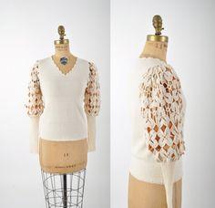 ganchillo suéter manga / cordero o de pata por teastreetvintage