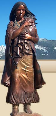 Statue of Sacajawea, Sacajawea Center, Salmon, Idaho - this museum celebrates the contributions of Sacajawea, the Lemhi-Shoshone woman who served as interpreter for Lewis and Clark. The museum chronicles her life before, during, and after the Expedition.
