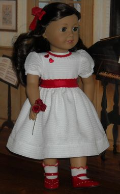 Classic Winter White Valentine's Dress for 18 inch dolls like Ruthie. $69.00, via Etsy.