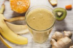 Smoothie z bananem, kiwi, pomarańczem i imbirem Kiwi, Cantaloupe, Smoothie, Pudding, Fruit, Desserts, Food, Tailgate Desserts, Deserts