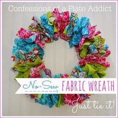 Most Favorite Craft No Sew Fabric Wreath is so easy! Just tie on the fabric. Wreath Crafts, Diy Wreath, Diy Crafts, Rag Wreaths, Burlap Wreath, Wreath Making, Door Wreaths, Tulle Wreath, Bow Making