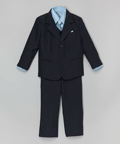 Look at this LA Sun Navy & Light Blue Five-Piece Suit Set - Infant, Toddler & Boys on #zulily today!