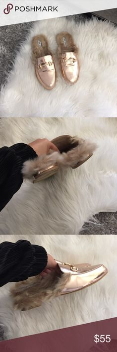 Backless loafers fur trim This year's trend are backless loafer and these are cheap alternative if you dont want to buy the gucci ones. Size 6 fit true to size. Rose and beige faux fur. Worn once. Shoes Flats & Loafers