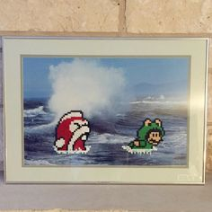 Mario better swim faster!! Thrift store picture + Nintendo characters = awesome. :)