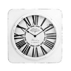Wall Clock, White, Antique Finish