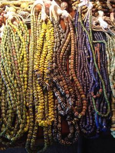 Just a small glimpse of trade beads in my studio this summer when I hosted a trunk show for my friend, Ebrima Sillah. African Trade Beads, African Jewelry, Ethnic Jewelry, Antique Jewelry, Beaded Jewelry, Beaded Bracelets, Necklaces, Jewellery, Paper Beads