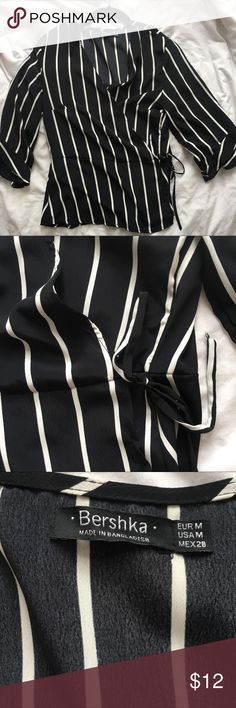 ASOS Bershka Wrap Stripe Tie Front Blouse Wrap blouse with ruffle sleeves. Never worn! Super cute but just doesn't fit my chest right (34C) ASOS Tops Blouses