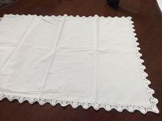 200 Thread percale pillowcase with crocheted trim