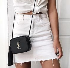 A white denim skirt is becoming a new essential | @andwhatelse