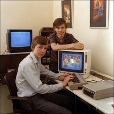 A typical, nostalgic 1980s bedroom coding scene.