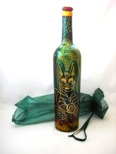 Ilustrated Cat ART on Glass Hand Painted Bottle Glass Home Decor, Message in a Bottle