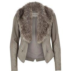 Grey leather-look faux fur biker jacket