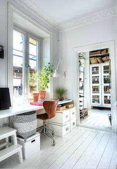 workspace / lovely light, window, moldings, floor, plant, basket....
