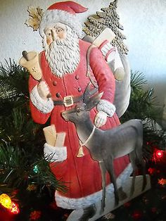 Santa with Christmas Deer Germany Die Cut Extra Large cardboard stand up 19 inch