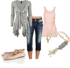 pink and gray pieces paired with capris and pink ballet slipper shoes