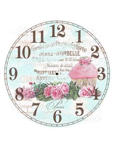 Clock-DIY Shabby Chic Clock Face with Cupcake, Roses and French Ephemera by MaBellePapeterie on Etsy https://www.etsy.com/listing/163164768/clock-diy-shabby-chic-clock-face-with
