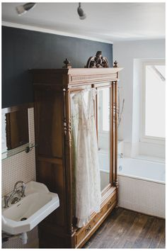 Armoire Antique, Antique Wardrobe, French Armoire, Mirrored Wardrobe, Bathroom Inspiration, Home Decor Inspiration, Bathroom Ideas, Beautiful Bathrooms, First Home