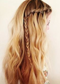 prom waterfall braid loose curls or waves