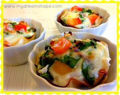 Egg, basil, turkey, tomato, spinach, red onion breakfast cups.  I like the turkey piece between the muffin tin and eggs!