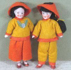 "3 1/2"" Pair Hertwig Dollhouse Dolls ~ RARE Orientals! All Original!"