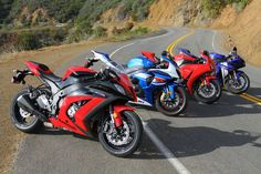 2012 Japanese superbikes.  L-R Kawasaki Ninja ZX10R, Suzuki GSXR1000, Honda CBR100RR, Yamaha R1.