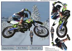 Showing Off Motorcross Biker Topper Decoupage on Craftsuprint - Add To Basket!