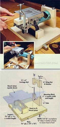 Biscuit Joiner Table - Biscuit Joiner Tips, Jigs and Fixtures Woodworking Jointer, Woodworking Basics, Learn Woodworking, Woodworking Techniques, Carpentry, Woodworking Plans, Woodworking Projects, Wood Tools, Diy Tools