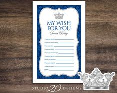 Instant Download Royal Blue Prince Wishes for Baby, Silver Prince Baby Shower Games, Printable Royal Blue Crown Theme Wish for Baby Game 66F One Piece Games, Price Is Right Games, Purse Game, Whats In Your Purse, Baby Bundles, Tent Cards, Wishes For Baby, Diaper Raffle, Baby Shower Games