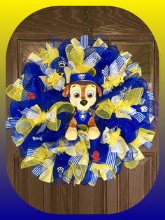 Reserved Paw Patrol Boy Birthday Gift Wreath by WreathsByTrina